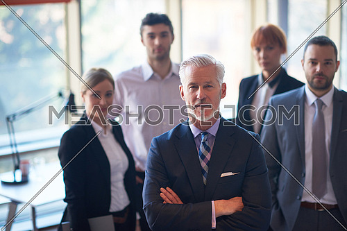 senior businessman with his team at office. business people group