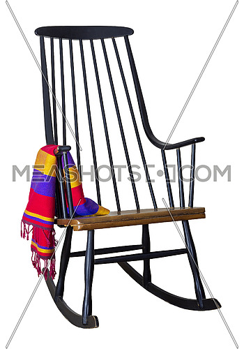 Classic wooden rocking chair with colorful scarf isolated on white including clipping path