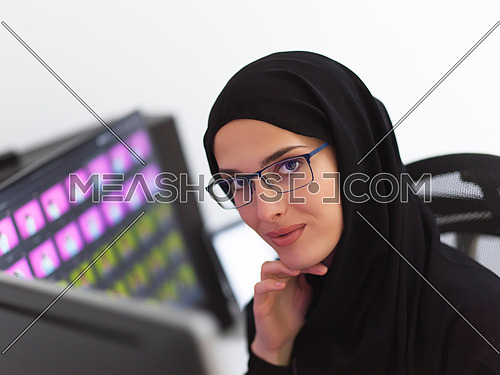 Portrait of young muslim female graphic designer with glasses. Hijab girl with the two monitors in background showing her work. Technology concept