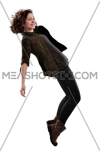 young woman dancing isolated on white background