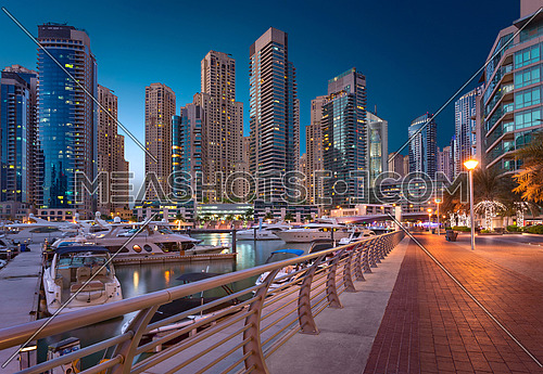 Dubai Marina Towers View By Sunset in the magical Blue Hour