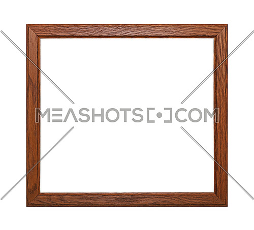 Simple minimalistic square brown wooden classic frame for picture, photo or mirror, isolated on white background, close up