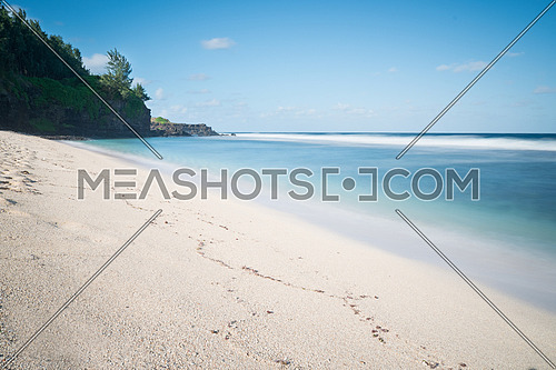Amazing white sandy beach and blue indian ocean,Gris Gris tropical beach, cape on South of Mauritius,used nd filter for long exposure.
