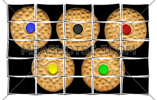 cookies collage composition of multiple images over white