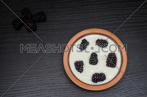 blackberry yogurt in a pottery bowl  on a black wooden table
