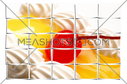 piece of lemon jelly cake with cherry on top,on white background