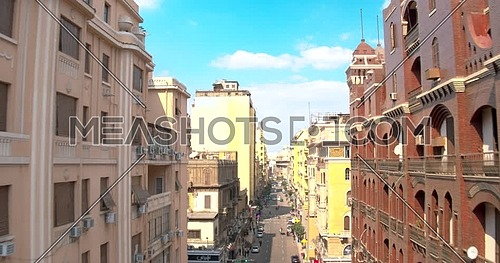 Lift of Drone shot inside Downtown revealing streets in cairo at day
