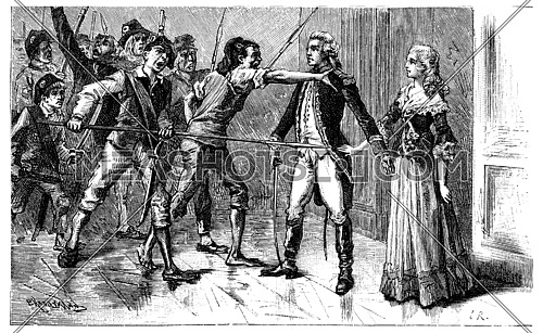 Do not disillusioned if she cried, sublime contempt and virtue, vintage engraved illustration.