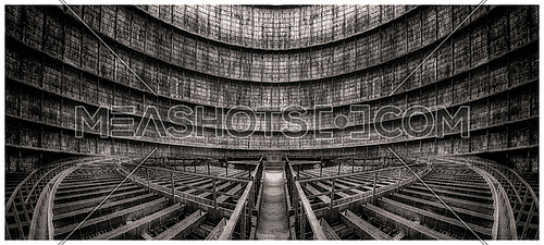 inside a Cooling Tower in black and white