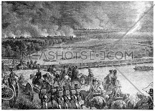The French army arising out of the island of Lobau, vintage engraved illustration. History of France – 1885.
