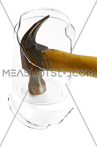 shattered glass jar with hammer isolated over white background