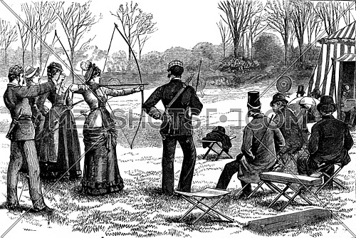 American sports. The game of the arc, vintage engraved illustration. Journal des Voyage, Travel Journal, (1880-81).