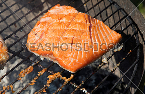 One grilled salmon fish fillet barbecue cooking prepared on bbq grill, close up