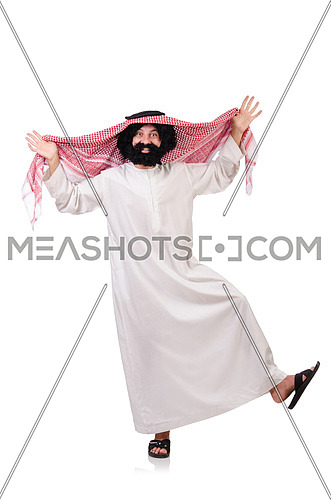 Dancing funny arab man isolated on white