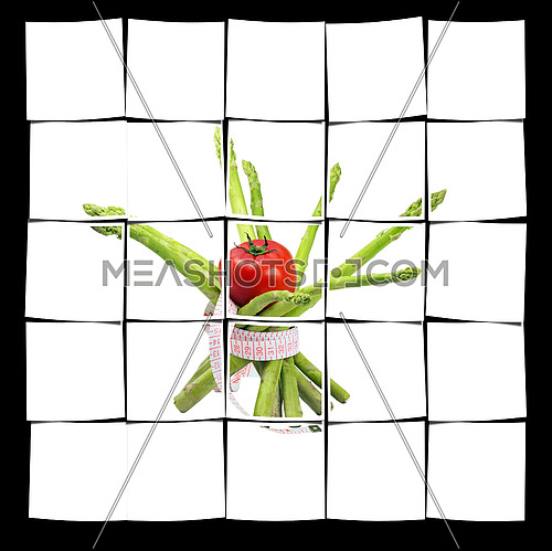 asparagus and tomato with a meter around ,isolated on white background
