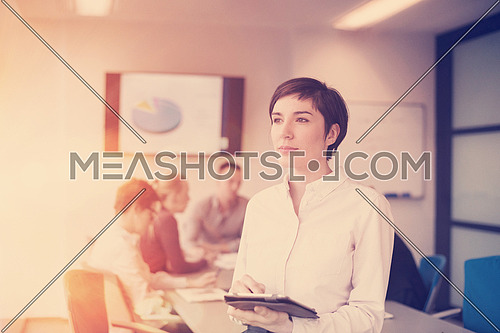 businesswoman on meeting using tablet computer  blured group of business people in background at  modern bright startup office interior