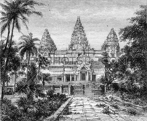 Ruins at Angkor Wat overview, vintage engraved illustration. Magasin Pittoresque 1870.