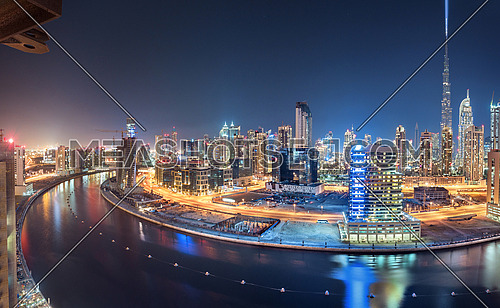 Dubai Skyline Panoramic View From Top at night with Towers in Horizon