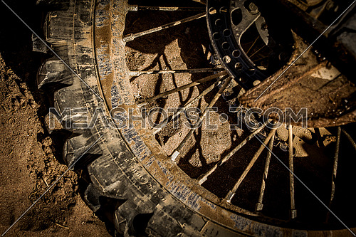 close up on Dirt Bike tyre