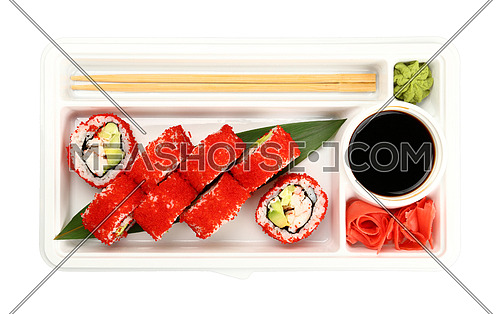 Close up take away set of Boston or California sushi rolls with red tobiko caviar and crab meat in disposable plastic tray isolated on white background, elevated top view, directly above