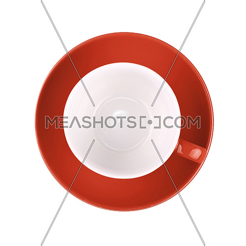 One red empty coffee or tea cup with saucer isolated on white background, elevated top view, directly above