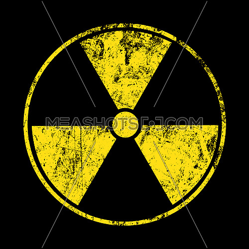 Vector illustration of grunge yellow radioactive hazard warning sign painted over black background
