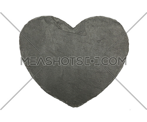 Close up of heart shaped small black slate board isolated on white background