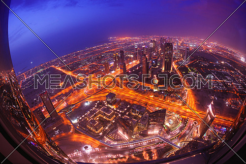 dubai city skyline   main road and new skyscrapers at sunset
