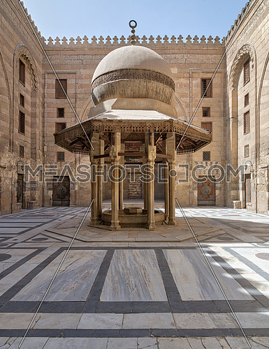 Ablution fountain mediating the courtyard of Al-Sultan Al-Zahir Barquq Mosque, Al Moez Street, Cairo, Egypt