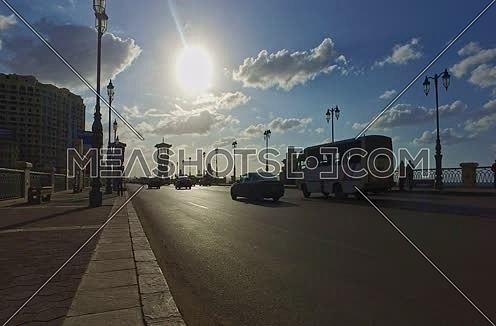 Low angle shot for traffic on Stanly Bridge at Alexandria at day