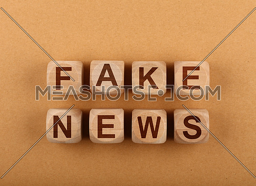Close up wooden cube signs with FAKE NEWS words over background of brown kraft paper parchment with copy space, elevated top view, directly above