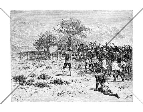 The Talisman Breaks in Angola, Southern Africa, drawing by Bayard based on writings, vintage engraved illustration. Le Tour du Monde, Travel Journal, 1881