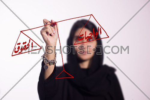 Arabian middle eastern business woman writing with a marker on virtual screen in arabic on a scale rights and duties isolated on white background