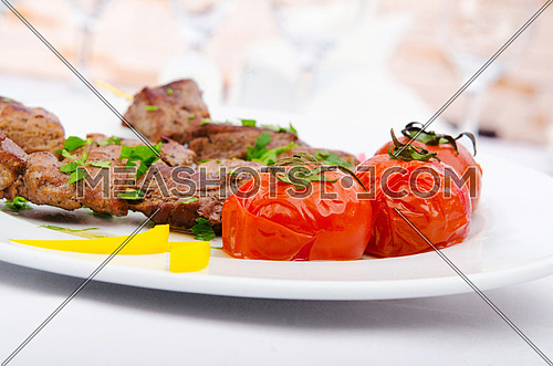 Kebab and tomatoes in the plate