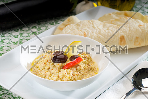 fresh homemade Badingian mutabbal Baba Ghanoush,traditional middle eastern dish