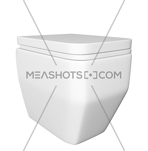 Modern square white ceramic and acrylic toilet bowl and lid, isolated against a white background. 3D illustration