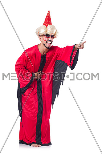 Wizard in red costume isolated on white