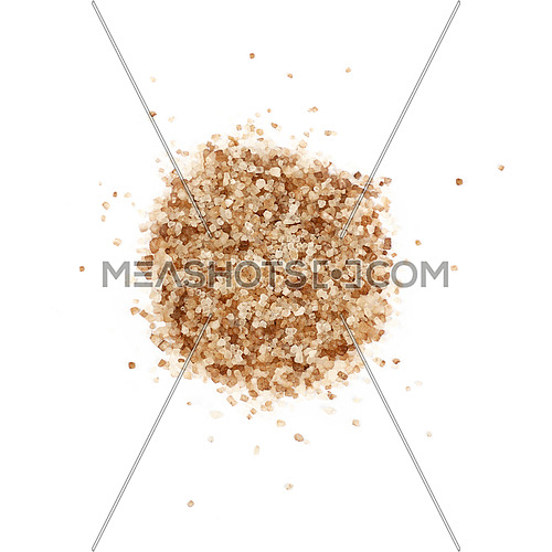 Close up one portion, heap of crystals brown smoked Danish salt isolated on white background, elevated top view, directly above