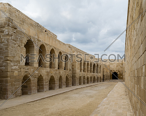 An open courtyard at an old citadel in Alexandria, Egypt. A 15th-century defensive fortress located on the Mediterranean sea coast, established in 1477 AD (882 AH)
