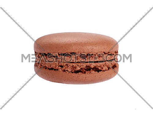 Close up one fresh brown chocolate traditional French macaroon pastry cookie (macaron, macaroni) isolated on white background, low angle view