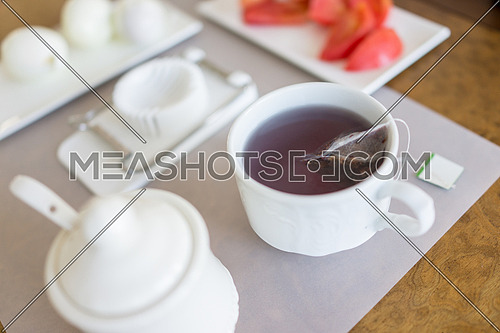 A cup of breakfast tea on a table
