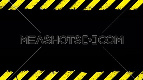 Yellow grunge painted stripes and under construction sign blinking animation with glitch over black background