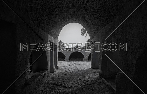 Old house entrance in fayoum, Egypt/ Black & white