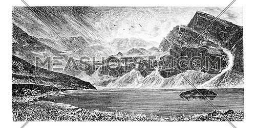 Gasienica Black Lake in Koscielec Valley in the Tatra Mountains, Poland, drawing by G. Vuillier from a photograph, vintage engraved illustration. Le Tour du Monde, Travel Journal, 1881