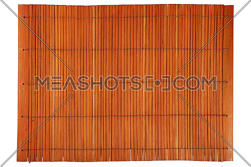Orange brown vintage Asian natural wooden bamboo mat texture with vertical planks, close up, isolated on white background
