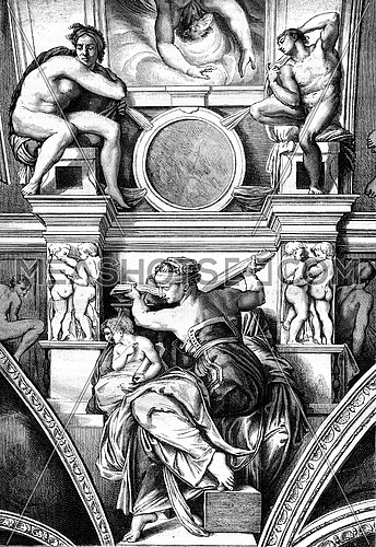 Sistine Chapel, The Libyan Sibyl, fresco by Michelangelo, vintage engraved illustration. Magasin Pittoresque 1880.