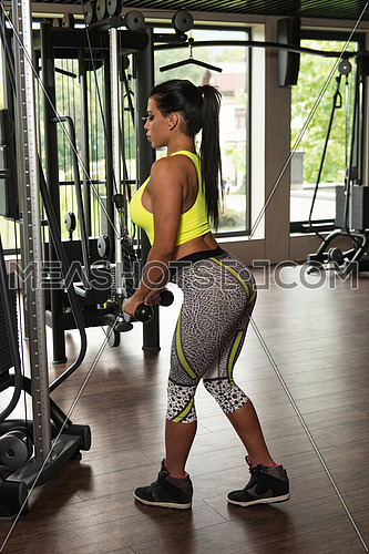 Latin Woman Athlete Doing Heavy Weight Exercise For Triceps