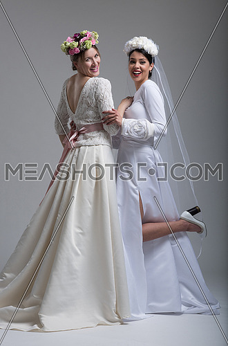 Photo For Portrait Of Two Beautiful Young Bride In Wedding Dresses Isolated On A White Background Meashots