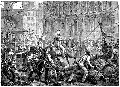 Arrival of the Duke of Orleans at the Hotel de Ville, vintage engraved illustration. History of France – 1885