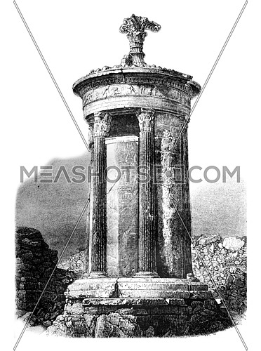 Choragic Monument of Lysicrates, vintage engraved illustration. Magasin Pittoresque 1861.